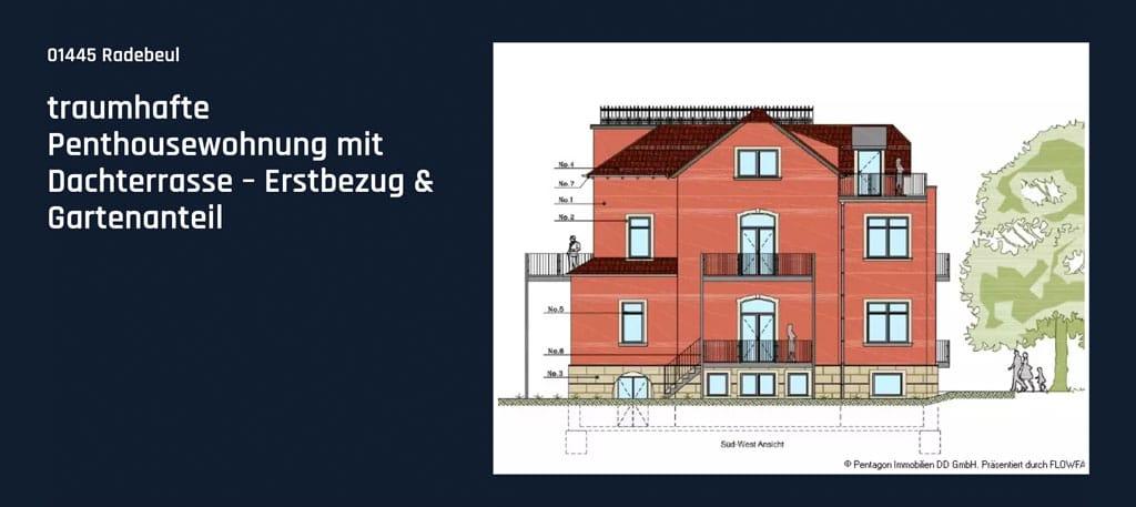 Traumhafte Penthouse-Wohnung mit Dachterrasse und Gartenanteil