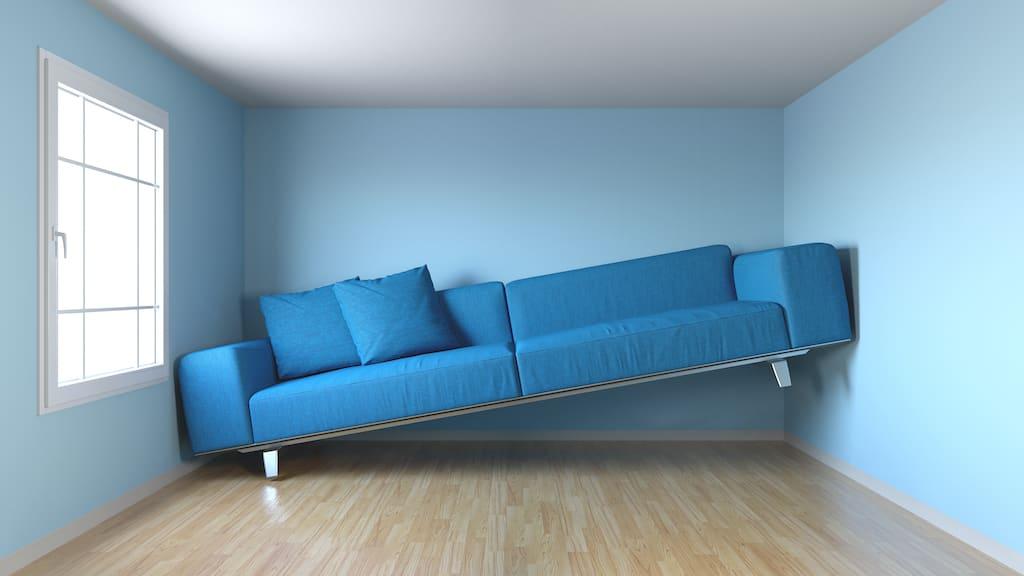 Schmales Wohnzimmer